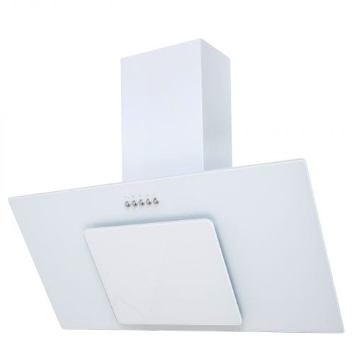 SIA AGL91WH 90cm Ice White Angled Glass Chimney Cooker Hood Extractor Fan