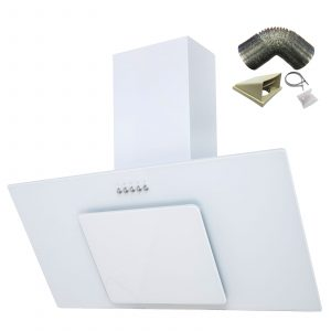 SIA 90cm Ice White Angled Glass Chimney Cooker Hood Extractor + 1m Ducting Kit