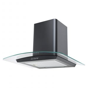 SIA CPE71BL 70cm 3 Colour LED Curved Glass Black Cooker Hood Extractor Fan