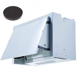 SIA BIE60SI 60cm Silver Integrated Built In Cooker Hood Fan And Carbon Filter