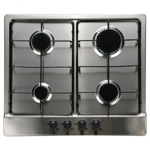 SIA SSG602SS 60cm 4 Burner Gas Hob and CG61SS Curved Glass Chimney Cooker Hood