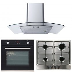 SIA Touch Control Electric Oven & 4 Burner Gas Hob and Curved Glass Cooker Hood