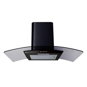 SIA CG81BL 80cm Curved Glass Black Chimney Cooker Hood Kitchen Extractor Fan