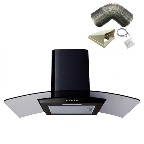 SIA CG81BL 80cm Black Curved Glass Chimney Cooker Hood Extractor And 1m Ducting