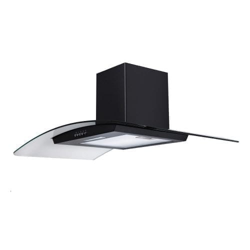 SIA CG81BL Black 80cm Curved Glass Chimney Cooker Hood Extractor and 1m Ducting