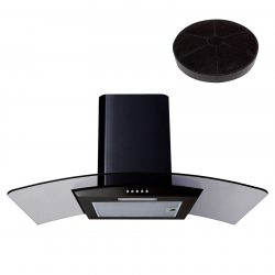 SIA CG81BL 80cm Curved Glass Black Chimney Cooker Hood Extractor And Filter