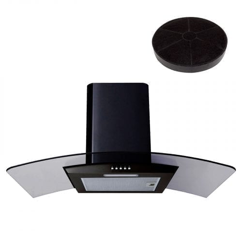 SIA CG81BL Black 80cm Curved Glass Chimney Cooker Hood Extractor & Carbon Filter