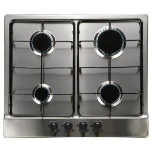 SIA SSG602SS 60cm 4 Burner Gas Hob and CPL61SS Curved Glass Chimney Cooker Hood