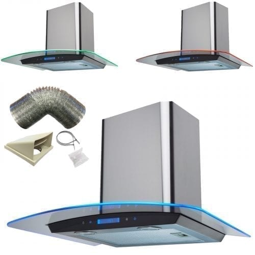 SIA St/Steel 60cm Touch Control 3 Colour Edge LED Cooker Hood and 3m Ducting