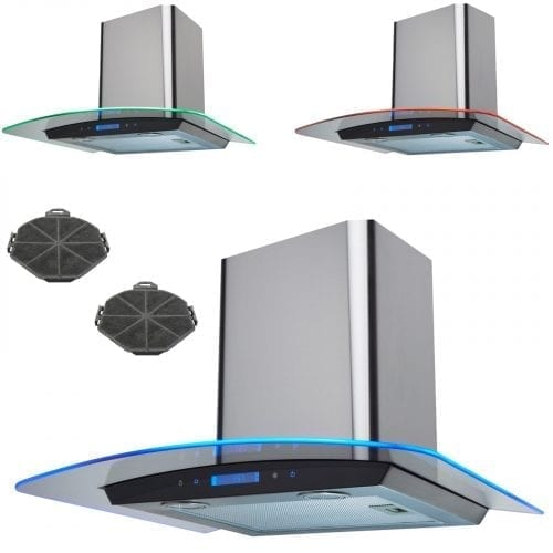 SIA 60cm Stainless Steel Touch Control LED Curved Cooker Hood & Carbon Filter
