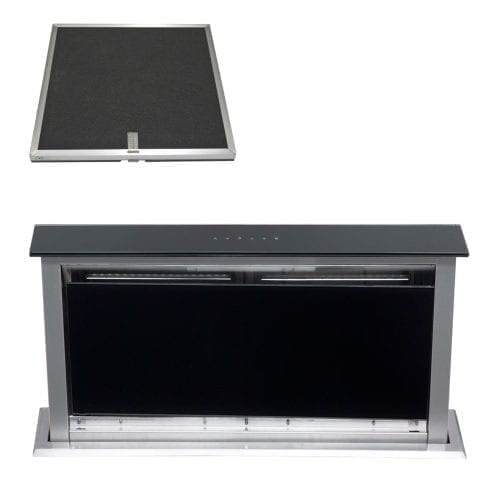 SIA 60cm Touch Control Downdraft Black Cooker Hood Extractor and Charcoal Filter