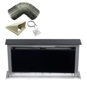 SIA 60cm Touch Control Downdraft Black Cooker Hood Extractor Fan and 1m Ducting
