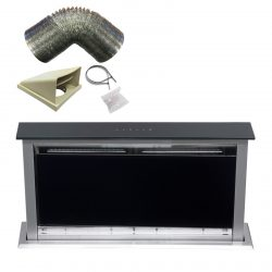 SIA 60cm Touch Control Downdraft Black Cooker Hood Extractor Fan and 3m Ducting