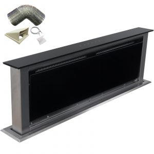 SIA 90cm Touch Control Downdraft Black Cooker Hood Extractor Fan and 3m Ducting