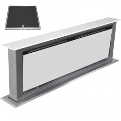 SIA 90cm White Touch Control Downdraft Cooker Hood Extractor & Carbon Filter
