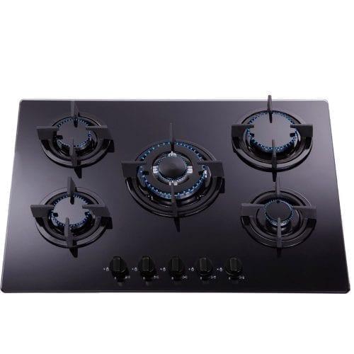 SIA 70cm Curved Glass Black Cooker Hood & 70cm 5 Burner Black Glass Gas Hob