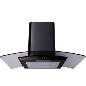 SIA 70cm 5 Burner Black Gas On Glass Hob & 70cm Curved Glass Black Cooker Hood
