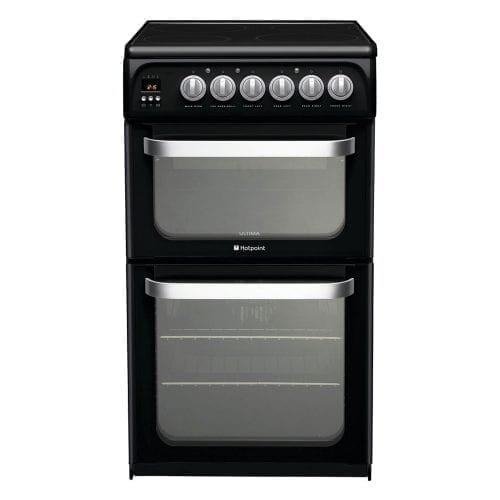 Hotpoint HUE52KS 50cm Black Double Electric Oven & Grill with 4 Zone Ceramic Hob