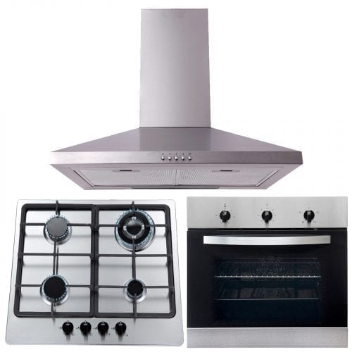 SIA 60cm Electric Single True Fan Oven, 4 Burner Gas Hob and Chimney Cooker Hood
