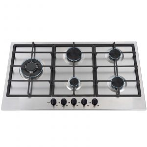 SIA 90cm 5 Burner Stainless Steel Gas Hob & 90cm Curved Glass Cooker Hood