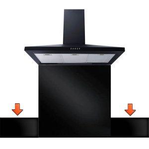 SIA UP140BL 100cm x 14cm Heat Resistant Toughened Black Glass Splashback Upstand