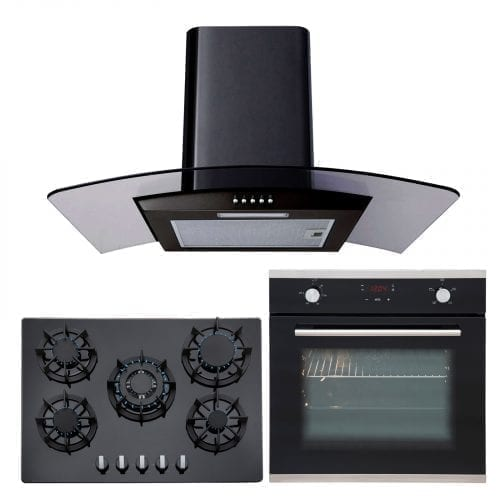 SIA 60cm Single Electric Oven, Black Glass Gas 70cm Hob & Chimney Cooker Hood