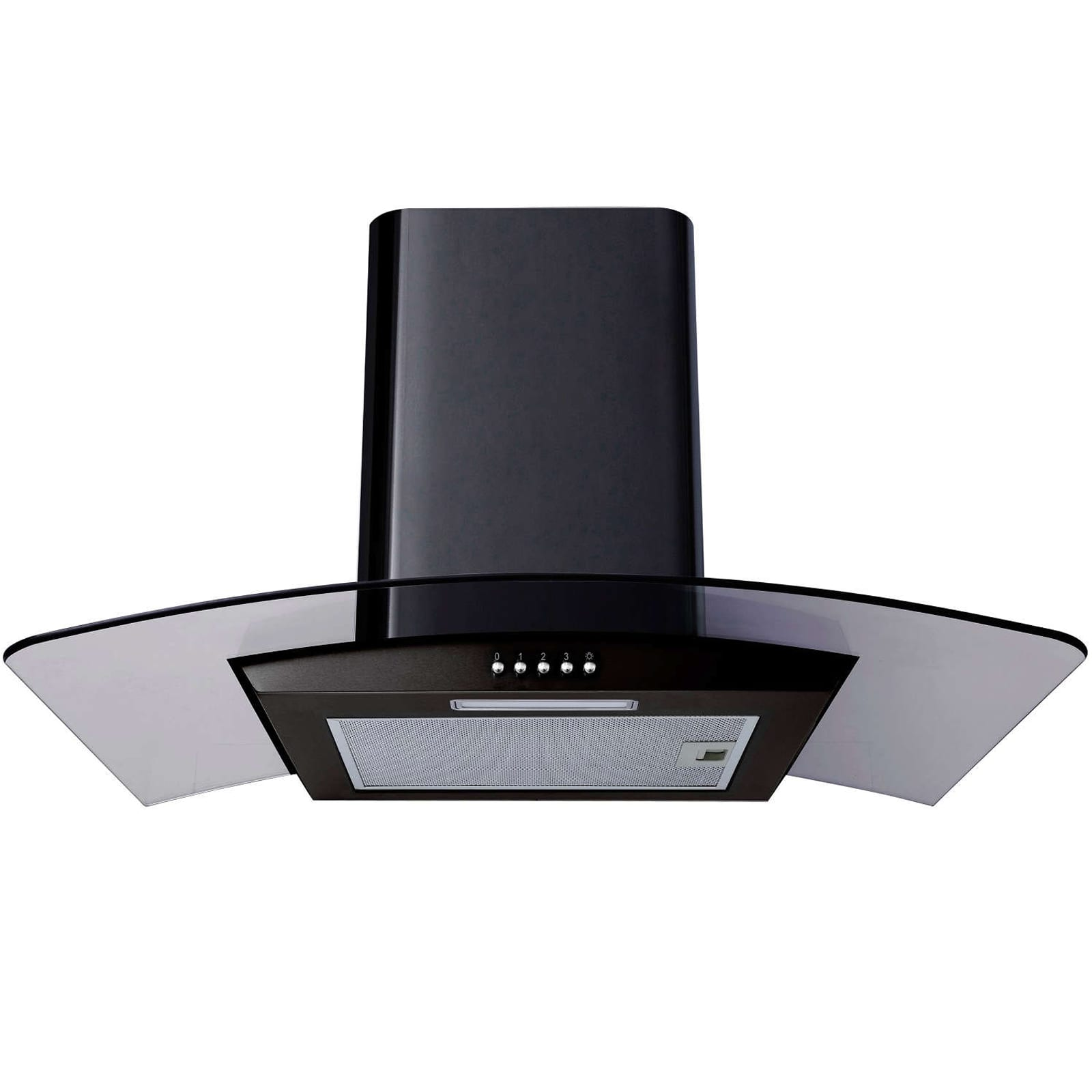 Sia 60cm double electric oven 70cm black glass gas hob chimney cooker hood