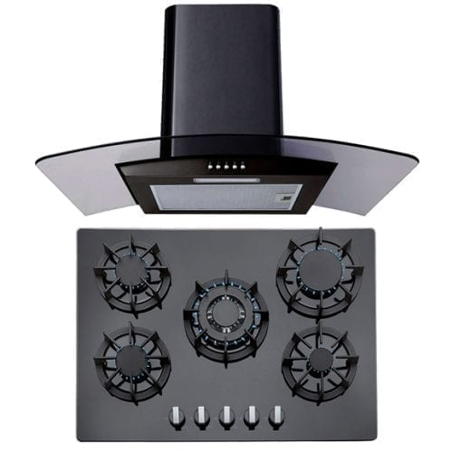 SIA 70cm Black 5 Burner Gas On Glass Hob & 70cm Curved Glass LED Cooker Hood Fan