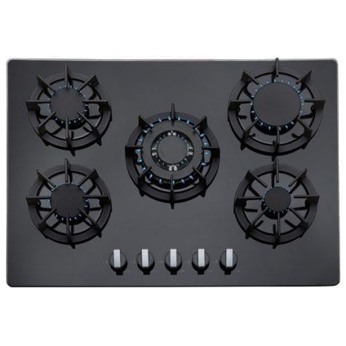 SIA 70cm Black 5 Burner Gas On Glass Hob & 70cm Curved Glass LED Cooker Hood