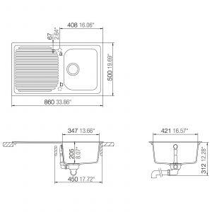 Schock Lithos D100 1.0 Bowl White Granite Kitchen Sink & Reginox Elbe Mixer Tap