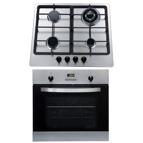 SIA SO112SS 60cm Electric Single Fan Oven & Stainless Steel 4 Burner Gas Hob