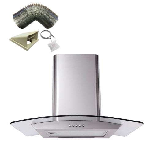 SIA CP61SS 60cm Curved Glass Stainless Steel Cooker Hood Extractor +1m Ducting