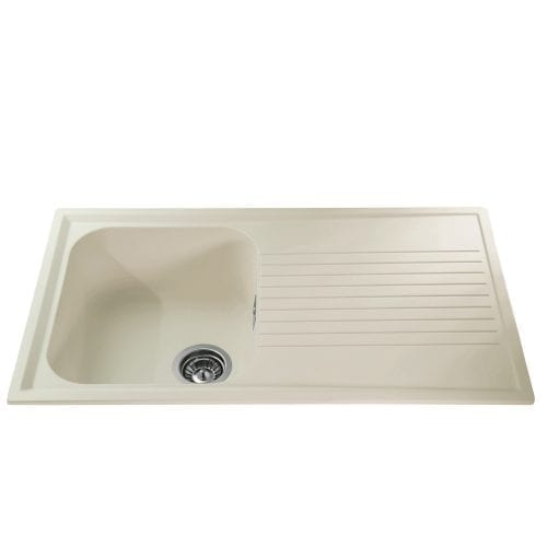 CDA AS1CM 1.0 Single Bowl Composite Kitchen Sink In Cream - Fully Reversible