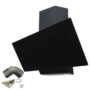 SIA EAG91BL Black 90cm Angled Glass Chimney Cooker Hood Kitchen & 1m Ducting Kit