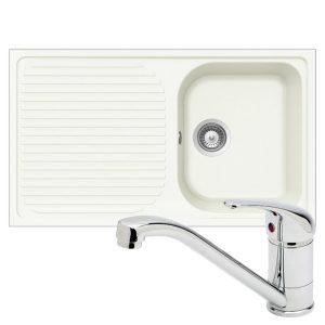 Schock Lithos 1.0 Bowl White Kitchen Sink & TP0800 Kuban Polished Chrome Tap