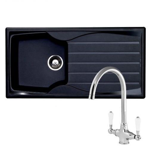 Astracast Sierra 1.0 Bowl Black Kitchen Sink & Reginox Elbe Chrome Mixer Tap