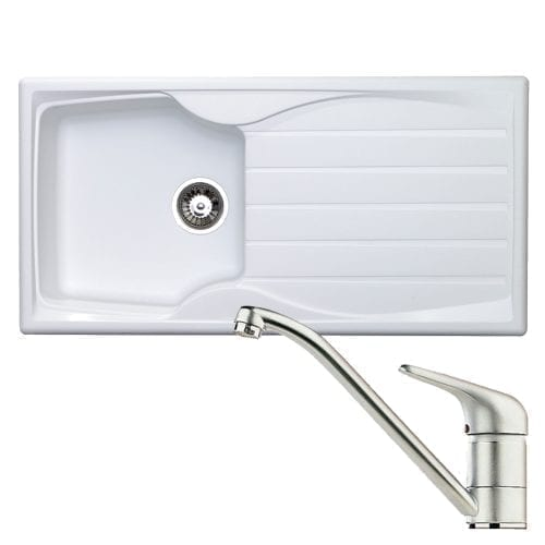 Astracast Sierra 1.0 Bowl White Kitchen Sink & Clearwater Creta Chrome Mixer Tap