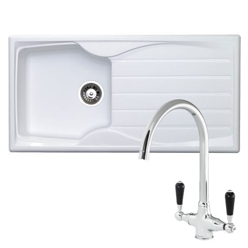 Astracast Sierra 1.0 Bowl White Kitchen Sink & Reginox Brooklyn Chrome Mixer Tap