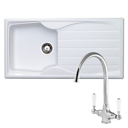 Astracast Sierra 1.0 Bowl White Kitchen Sink & Reginox Elbe Chrome Mixer Tap