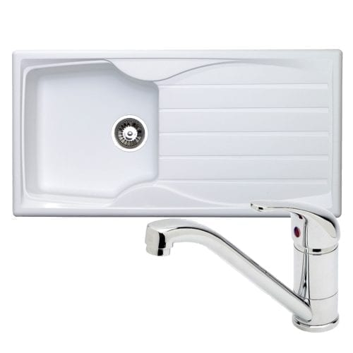 Astracast Sierra 1.0 Bowl White Kitchen Sink & Astracast TP0800 Chrome Mixer Tap
