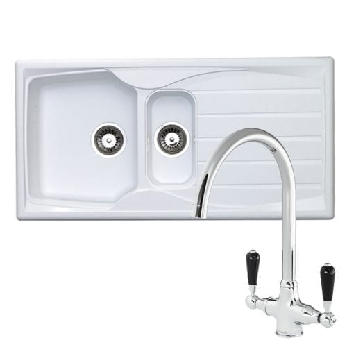 Astracast Sierra 1.5 Bowl White Kitchen Sink & Reginox Brooklyn Chrome Mixer Tap