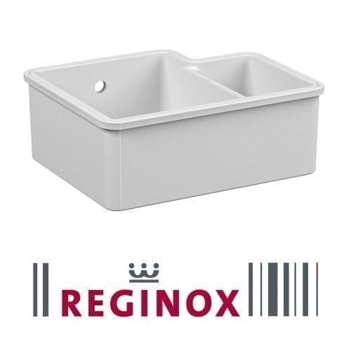 Reginox Tuscany 1.5 Bowl White Ceramic Undermount Kitchen Sink & Waste