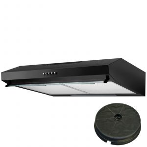 SIA STV60BL 60cm Black Visor Cooker Hood Kitchen Extractor Fan and Carbon Filter