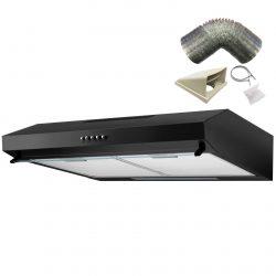 SIA STV60BL 60cm Black Visor Cooker Hood Kitchen Extractor Fan & 1m Ducting Kit