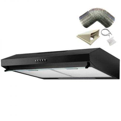 SIA STV60BL 60cm Black Visor Cooker Hood Kitchen Extractor Fan & 1m Ducting Kit
