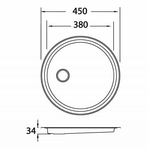 CDA KR20SS Single Round Drainer Kitchen Sink in Stainless Steel