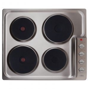 CDA HE6051SS 60cm 4 Solid Plate Side Control Electric Hob In Stainless Steel