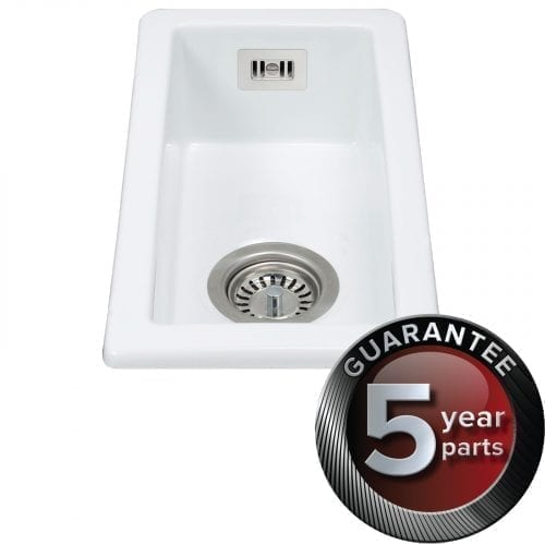 CDA KC41WH Handmade Fireclay Undermount Half Bowl Ceramic White Kitchen Sink