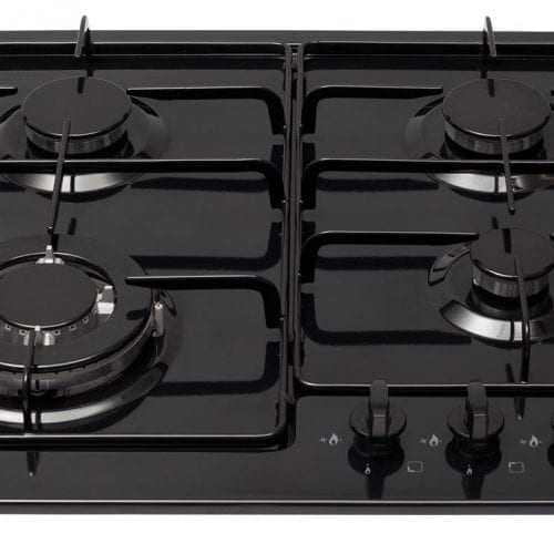 CDA HG6250BL 60cm Front Control 4 Burner Gas Hob in Black + Wok Burner