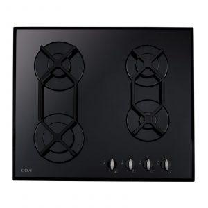 CDA HVG620BL 60cm Four Burner Black Front Control Gas On Glass Kitchen Hob
